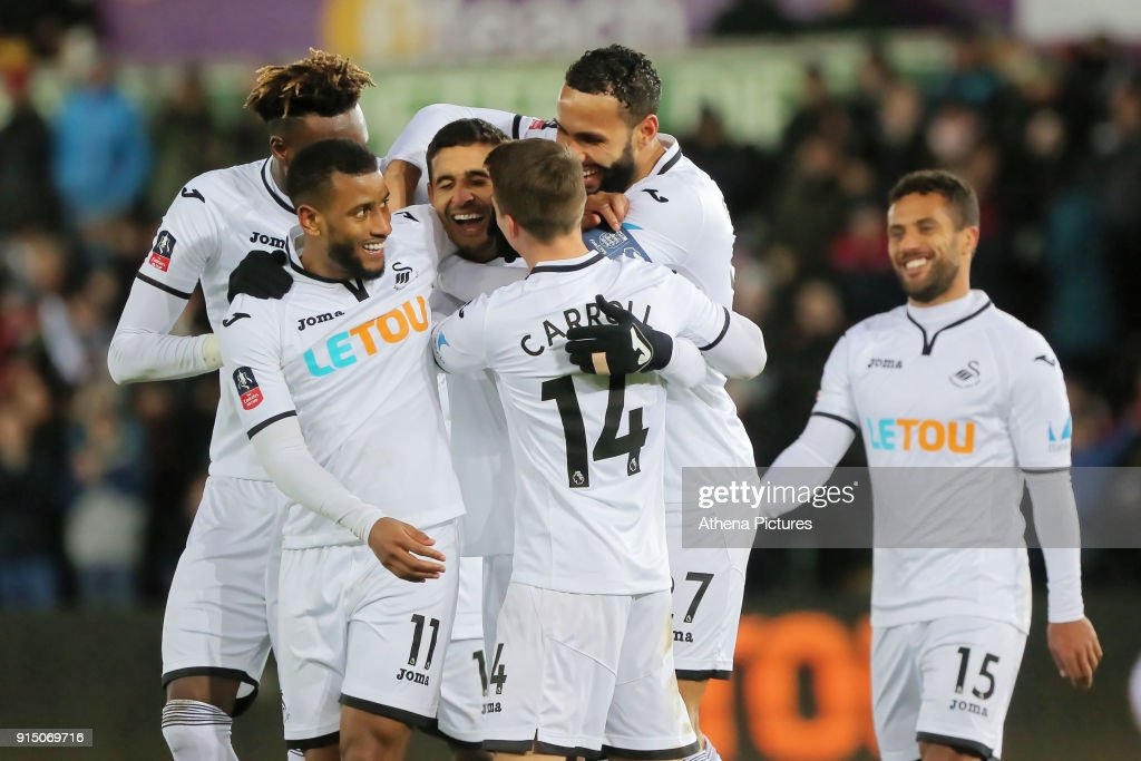Kyle Naughton of Swansea City (C) celebrates his goal with team mates during The Emirates FA Cup match between Swansea City and Notts County at The Liberty Stadium on February 06, 2018 in Swansea, Wales.
