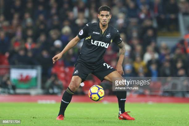 Kyle Naughton of Swansea City during the Premier League match between Liverpool and Swansea City at Anfield on December 26 2017 in Liverpool England
