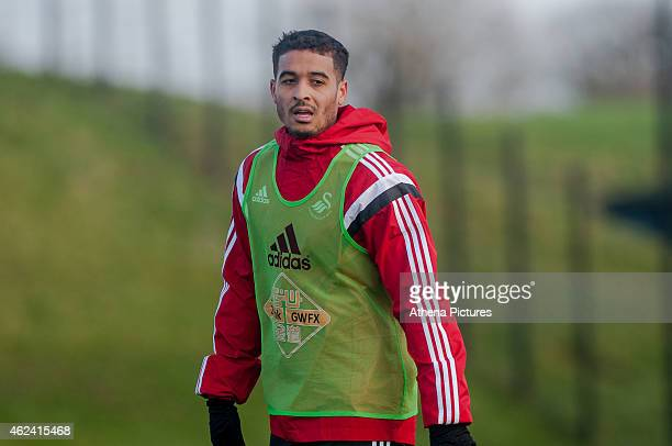 Kyle Naughton of Swansea City looks on during training on January 28 2015 in Swansea Wales