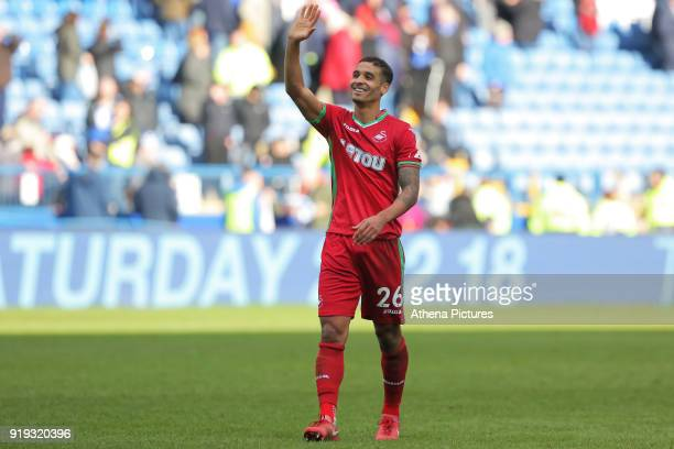 Kyle Naughton of Swansea City thanks away supporters during The Emirates FA Cup Fifth Round match between Sheffield Wednesday and Swansea City at...