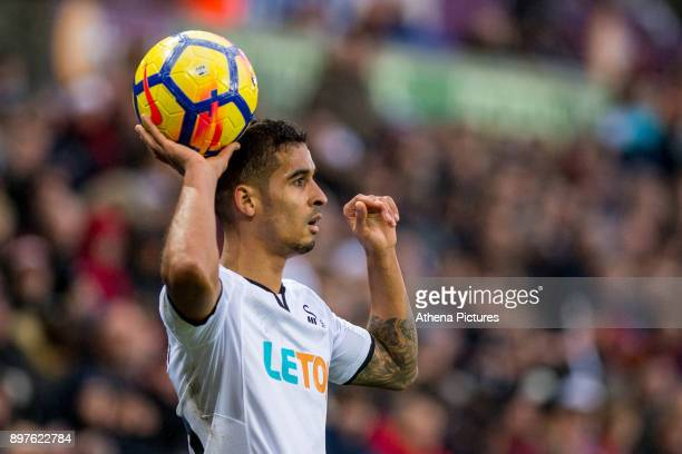 Kyle Naughton of Swansea City throws the ball in during the Premier League match between Swansea City and Crystal Palace at The Liberty Stadium on...