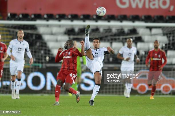 Kyle Naughton of Swansea City with an overhead kick during the Sky Bet Championship match between Swansea City and Fulham at the Liberty Stadium...