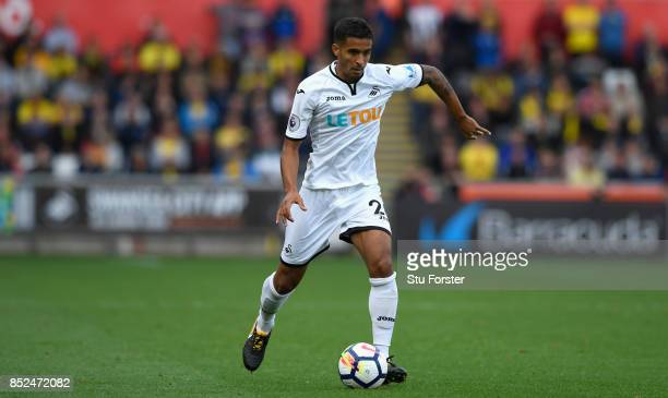 Kyle Naughton of Swansea in action during the Premier League match between Swansea City and Watford at Liberty Stadium on September 23 2017 in...