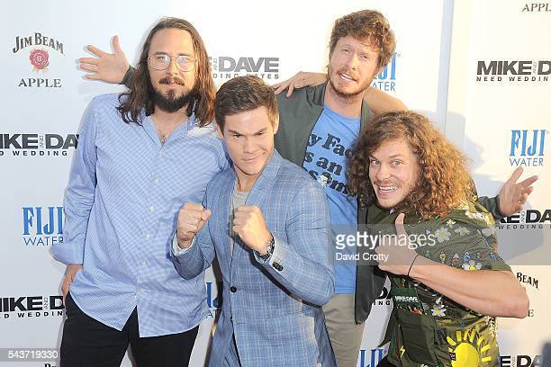 Kyle Newacheck Adam Devine Anders Holm and Blake Anderson attend the Mike and Dave Need Wedding Dates premiere at ArcLight Cinemas Cinerama Dome on...