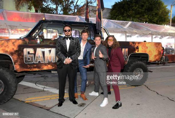 Kyle Newacheck Anders Holm Adam DeVine Blake Anderson attend the premiere of the Netflix film Game Over Man at the Regency Village Westwood in Los...