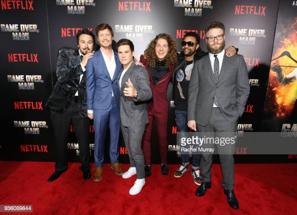 Kyle Newacheck Anders Holm Adam DeVine Blake Anderson Shaggy and Seth Rogen attend the premiere of the Netflix film Game Over Man at the Regency...
