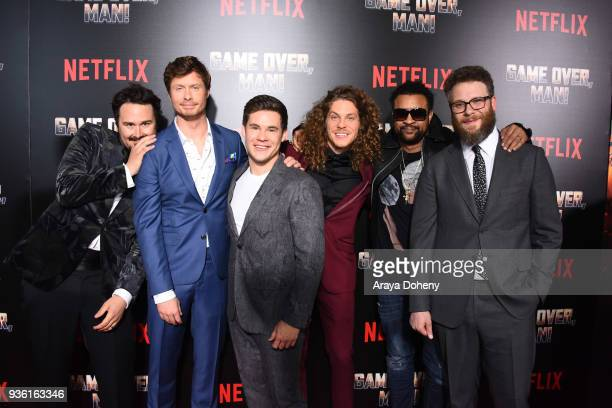 Kyle Newacheck Anders Holm Adam Devine Blake Anderson Shaggy and Seth Rogen attend the premiere of Netflix's Game Over Man at Regency Village Theatre...