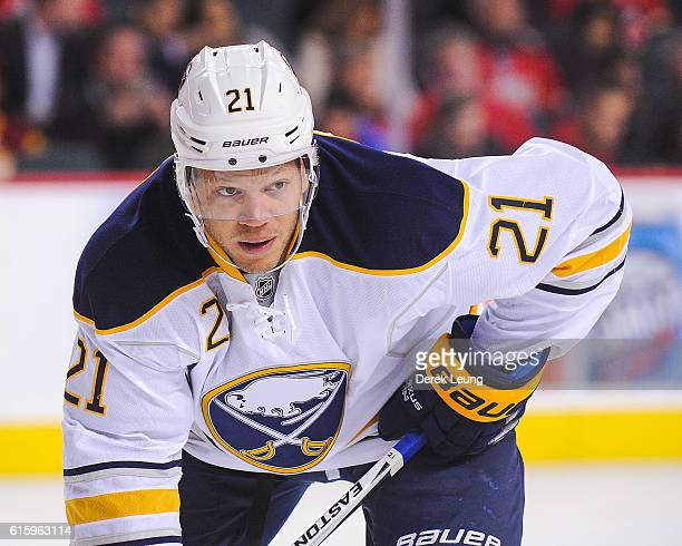 Kyle Okposo of the Buffalo Sabres in action against the Calgary Flames during an NHL game at Scotiabank Saddledome on October 18 2016 in Calgary...