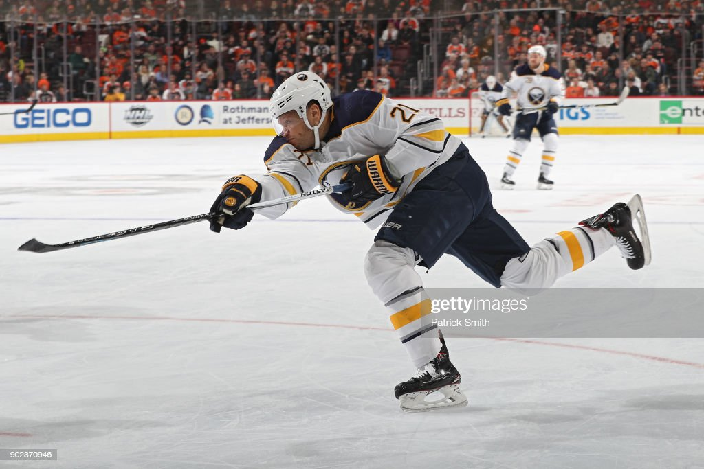 Kyle Okposo #21 of the Buffalo Sabres shoots against the Philadelphia Flyers during the third period at Wells Fargo Center on January 7, 2018 in Philadelphia, Pennsylvania.