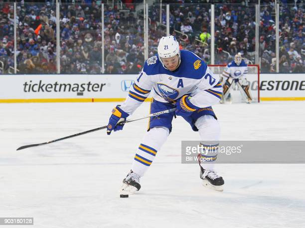 Kyle Okposo of the Buffalo Sabres skates against the New York Rangers at the 2018 Bridgestone NHL Winter Classic at Citi Field on January 1 2018 in...
