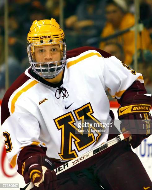 Kyle Okposo of the Minnesota Gophers skates in warmups before a game with the RPI Engineers October 12, 2007 at the Xcel Energy Center in St. Paul,...