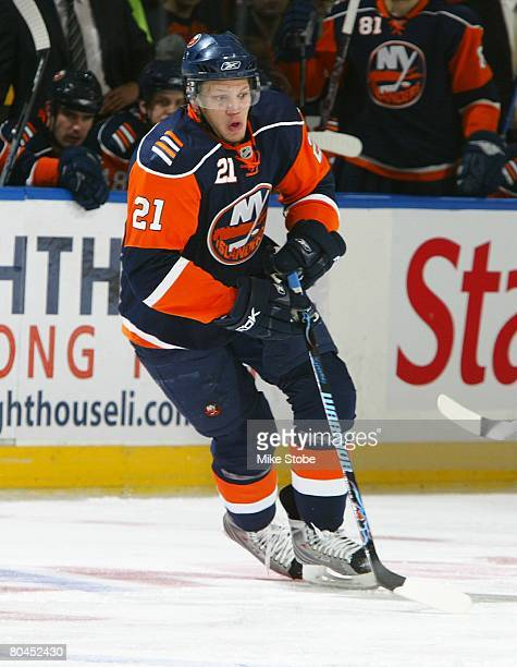 Kyle Okposo of the New York Islanders skates against the Philadelphia Flyers on March 29, 2008 at Nassau Coliseum in Uniondale, New York. The Flyers...