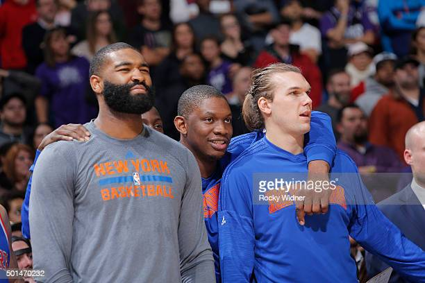 Kyle O'Quinn and Lou Amundson of the New York Knicks look on during the game against the Sacramento Kings on December 10 2015 at Sleep Train Arena in...