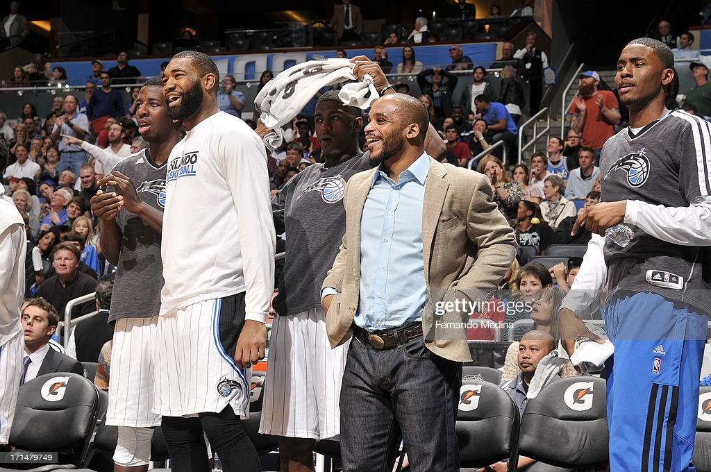 Kyle O'Quinn #2, Jameer Nelson #14 of the Orlando Magic during the game against the Miami Heat on December 31, 2012 at Amway Center in Orlando, Florida.