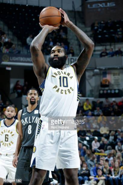 Kyle O'Quinn of the Indiana Pacers shoots a free throw during a game against the Brooklyn Nets on October 20 2018 at Bankers Life Fieldhouse in...