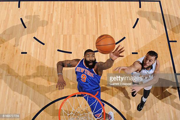 Kyle O'Quinn of the New York Knicks grabs the rebound against the Denver Nuggets on March 8 2016 at the Pepsi Center in Denver Colorado NOTE TO USER...
