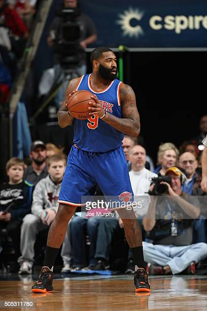 Kyle O'Quinn of the New York Knicks handles the ball against the Memphis Grizzlies on January 16 2016 at FedExForum in Memphis Tennessee NOTE TO USER...