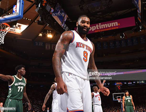 Kyle O'Quinn of the New York Knicks looks at the camera against the Milwaukee Bucks at Madison Square Garden on November 6 2015 in New YorkNew York...