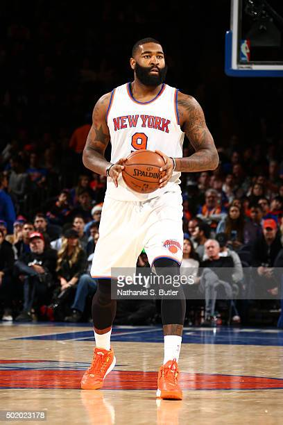 Kyle O'Quinn of the New York Knicks looks to move the ball against the Chicago Bulls during the game on December 19 2015 at Madison Square Garden in...