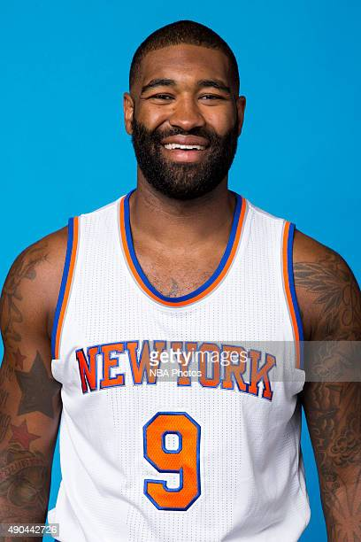 Kyle O'Quinn of the New York Knicks poses for a head shot at media day at the MSG Training Facility in Greenburgh New York on September 28 2015 NOTE...