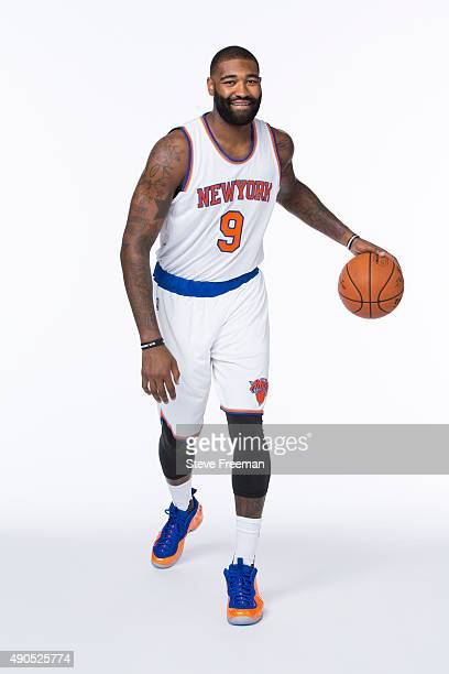 Kyle O'Quinn of the New York Knicks poses for a portrait at Media Day at the MSG Training Facility in Greenburgh New York on September 28 2015 NOTE...