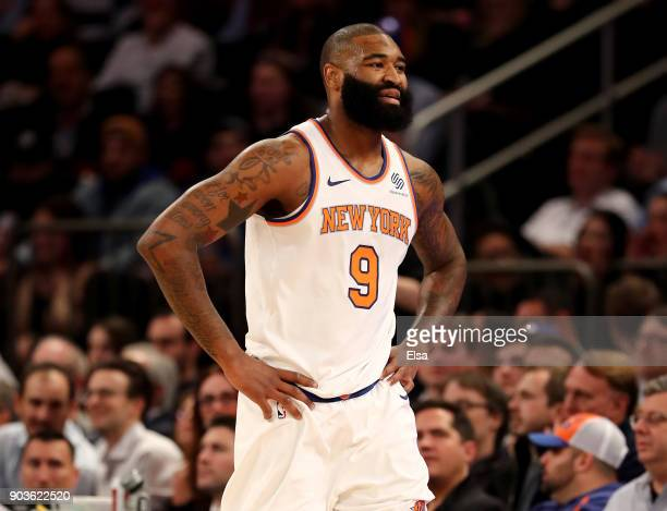 Kyle O'Quinn of the New York Knicks reacts after he is called for a technical foul in the second half against the Chicago Bulls at Madison Square...