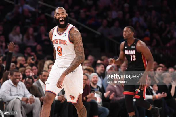 Kyle O'Quinn of the New York Knicks reacts during the game against the Miami Heat at Madison Square Garden on April 6 2018 in New York City NOTE TO...