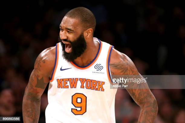 Kyle O'Quinn of the New York Knicks reacts in the fourth quarter against the Boston Celtics during their game at Madison Square Garden on December 21...