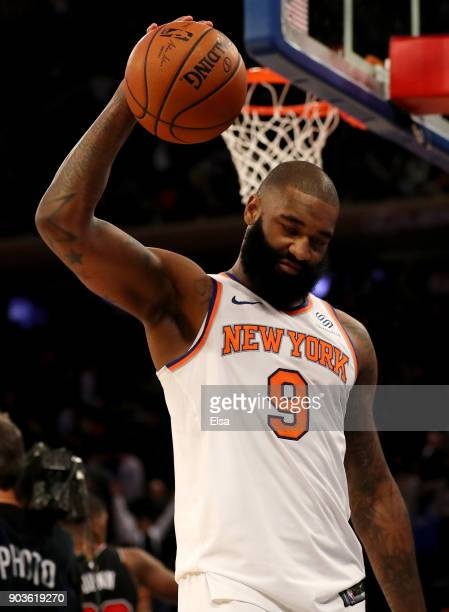 Kyle O'Quinn of the New York Knicks reacts to the loss to the Chicago Bulls at Madison Square Garden on January 10 2018 in New York CityThe Chicago...