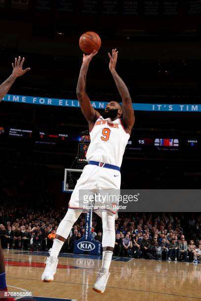 Kyle O'Quinn of the New York Knicks shoots the ball during the game against the LA Clippers on November 20 2017 at Madison Square Garden in New York...