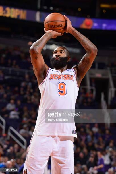 Kyle O'Quinn of the New York Knicks shoots the ball during the game against the Phoenix Suns on January 26 2018 at Talking Stick Resort Arena in...