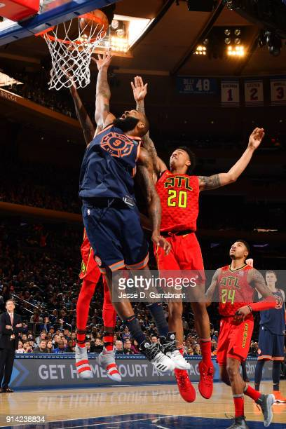 Kyle O'Quinn of the New York Knicks shoots the ball during the game against the Atlanta Hawks on February 4 2018 in New York City New York at Madison...
