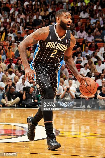 Kyle O'Quinn of the Orlando Magic advances the ball against the Miami Heat on April 17 2013 at American Airlines Arena in Miami Florida NOTE TO USER...