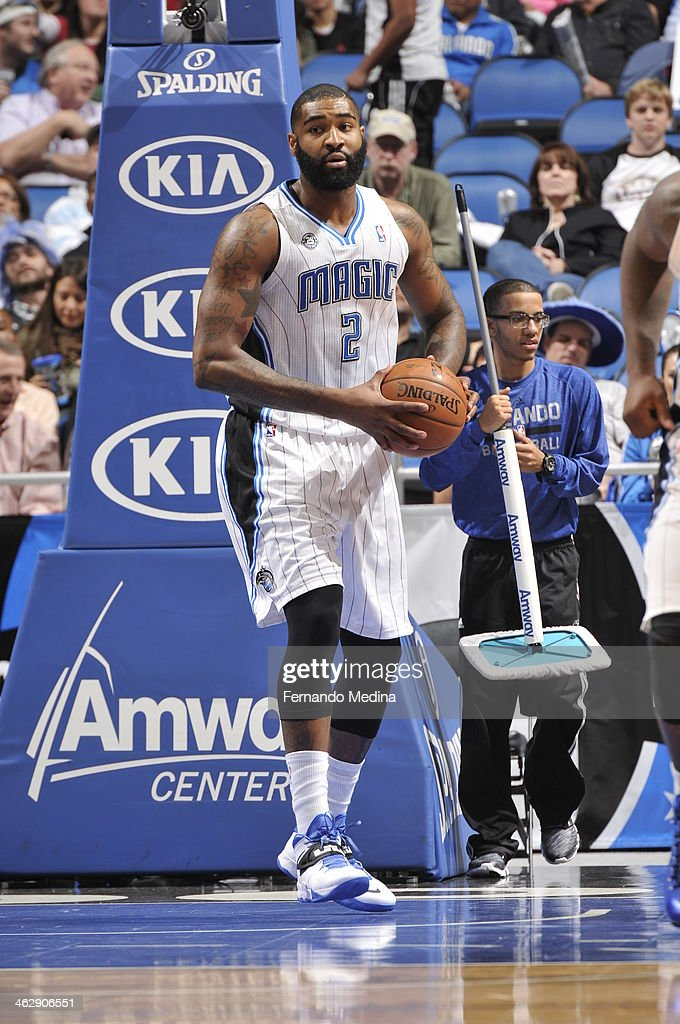 Kyle O'Quinn #2 of the Orlando Magic dribbles up the court against the Chicago Bulls Bulls during the game on January 15, 2014 at Amway Center in Orlando, Florida.