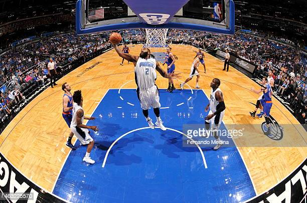 Kyle O'Quinn of the Orlando Magic grabs the rebound against the New York Knicks on February 11 2015 at Amway Center in Orlando Florida NOTE TO USER...