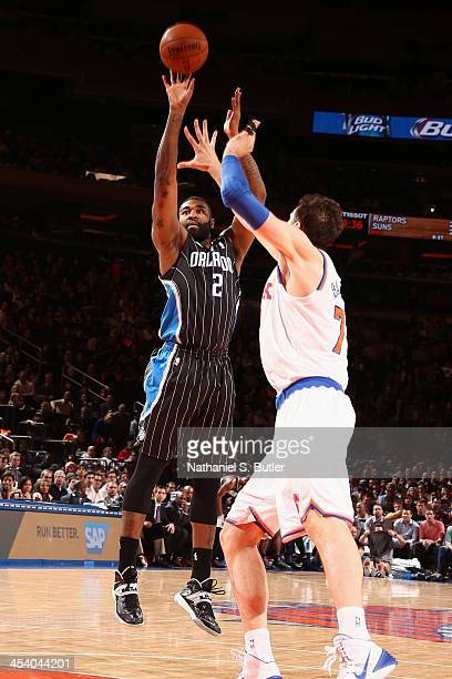 Kyle O'Quinn of the Orlando Magic shoots against the New York Knicks during a game at Madison Square Garden in New York City on December 6 2013 NOTE...