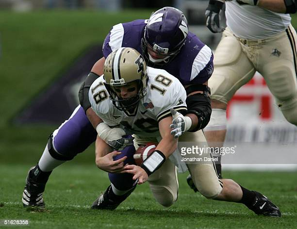 Kyle Orton of Purdue fumbles as Luis Castillo of Northwestern tackles him during a game on October 30 2004 at Ryan Field at Northwestern University...