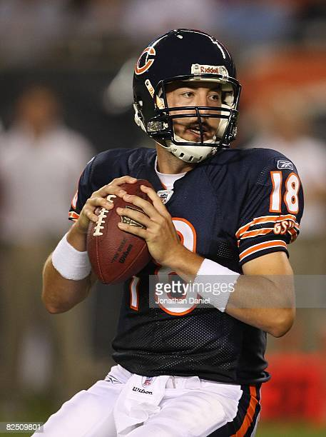 Kyle Orton of the Chicago Bears looks for a receiver against the San Francisco 49ers on August 21 2008 at Soldier Field in Chicago Illinois