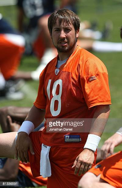Kyle Orton of the Chicago Bears participates during a mini-camp practice on May 31, 2008 at Halas Hall in Lake Forest, Illinois.