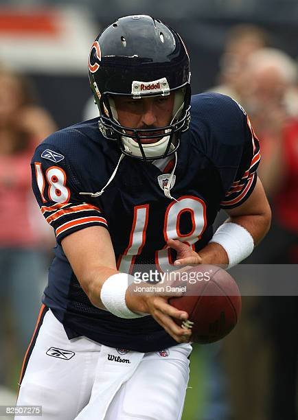 Kyle Orton of the Chicago Bears participates in warmups before a game against the San Francisco 49ers on August 21 2008 at Soldier Field in Chicago...