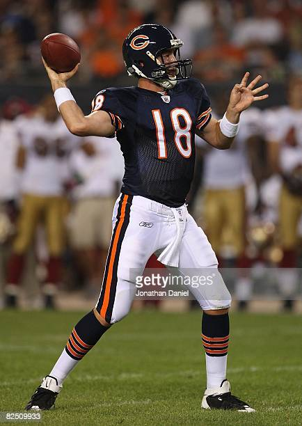 Kyle Orton of the Chicago Bears passes the ball against the San Francisco 49ers on August 21 2008 at Soldier Field in Chicago Illinois The 49ers...