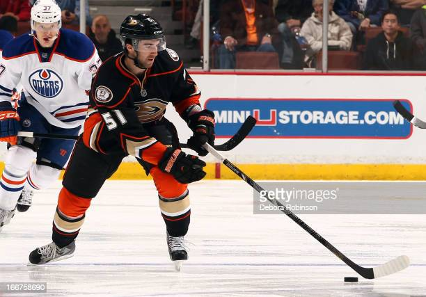 Kyle Palmieri of the Anaheim Ducks handles the puck during the game against the Edmonton Oilers on April 8 2013 at Honda Center in Anaheim California