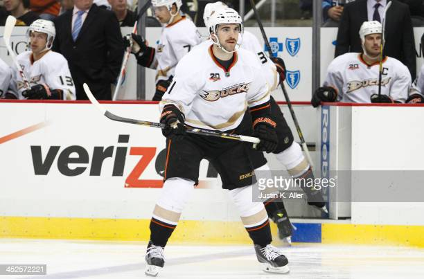 Kyle Palmieri of the Anaheim Ducks skates against the Pittsburgh Penguins during the game at Consol Energy Center on November 18, 2013 in Pittsburgh,...