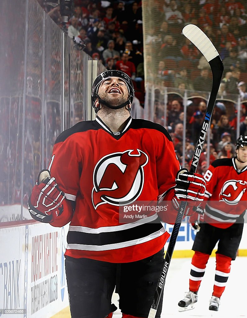 Kyle Palmieri #21 of the New Jersey Devils reacts after scoring his 30th goal of the year against the Toronto Maple Leafs during the game at Prudential Center on April 9, 2016 in Newark, New Jersey.