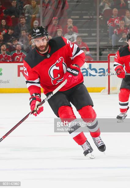 Kyle Palmieri of the New Jersey Devils skates against the Columbus Blue Jackets during the game at Prudential Center on February 20 2018 in Newark...