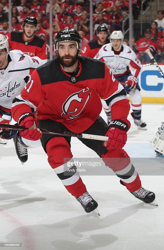 big sale 687e4 1a34b Kyle Palmieri of the New Jersey Devils skates against the ...