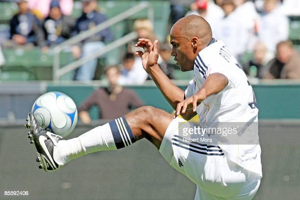 Kyle Patterson of the Los Angeles Galaxy controls the ball against DC United during the MLS game at Home Depot Center on March 22 2009 in Carson...