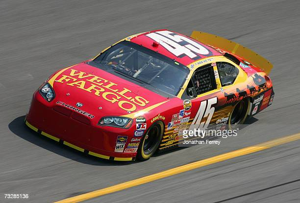 Kyle Petty, driver of the Wells Fargo Dodge, drives during practice for the Daytona 500 at Daytona International Speedway on February 10, 2007 in...