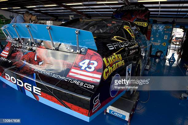 Kyle Petty's race car being readied for practice at the Talladega Superspeedway Talladega Al on April 27 2007
