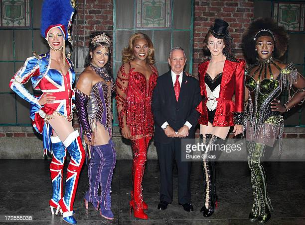 Kyle Post Robert Pendilla Billy Porter as Lola New York City Mayor Michael Bloomberg Charlie Sutton and Kyle Taylor Parker pose backstage at the...